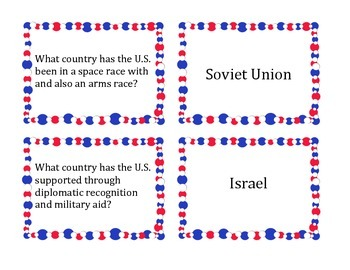 U.S. World Relations and Globalization Matching Card Game