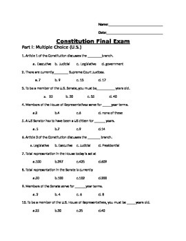 US and IL Constitution Final Exam