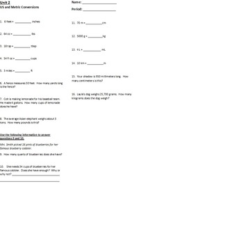 US and Metric Conversion Quiz with Answer Key
