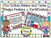 U.S. and Texas Pledge Posters & Certificates ~ Bright Polka Dots & Stripes