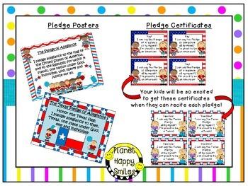 U.S. and Texas Pledge Posters & Certificates ~ Bright Polka Dots & Stripes