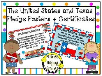 U.S. and Texas Pledge Posters & Certificates ~ Bright Polk