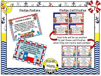 U.S. and Texas Pledge Posters & Certificates ~ Nautical