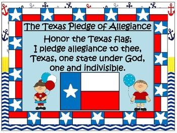 U.S. and Texas Pledge Posters & Certificates ~ Nautical