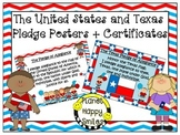U.S. and Texas Pledge Posters & Certificates ~ Red, White & Blue Chevron