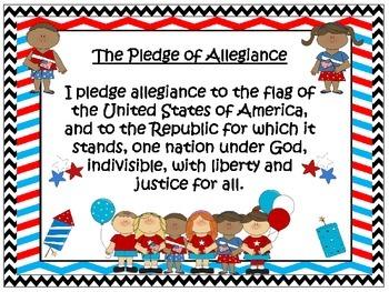 U.S. and Texas Pledge Posters ~ Chevron B/W Print