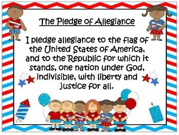 U.S. and Texas Pledge Posters ~ Super Hero Theme