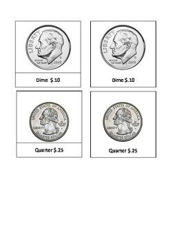 Coin U.S. values - Montessori 3 part cards