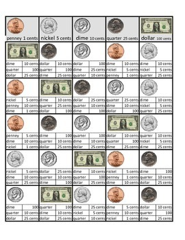 US coins and bill Self-Teaching Worksheet Flashcards