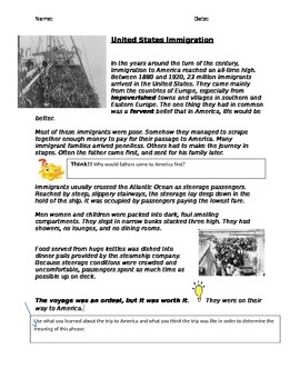 U.S immigration- informational text comprehension
