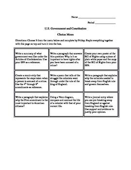 U.S. independence/constitution choice menu