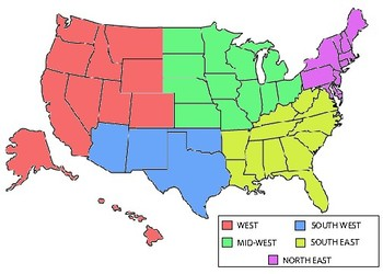 Us Map Colored By Region US regions colored by Loren DiDiego   Teachers Pay Teachers