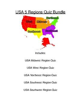 USA 5 Regions Quiz Bundle
