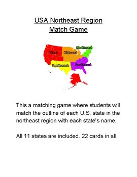 USA 5 Regions State Match Game