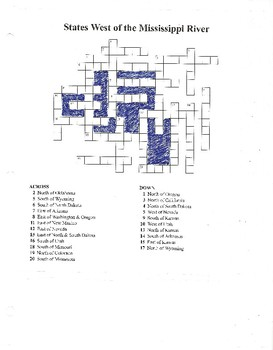 USA 50 States Blank Map, CW Puzzle & Test
