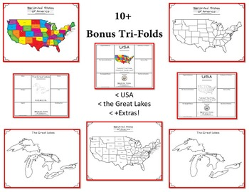 United States of America 50 States Research Tri-Folds