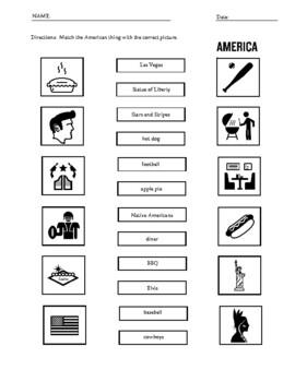 USA / America  Vocabulary worksheets