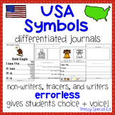 USA American Symbols Differentiated Journal Writing for Special Education/Autism