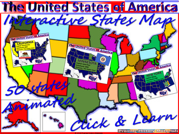 USA Animated Interactive Map (All 50 States, Statehood, Nickname ...