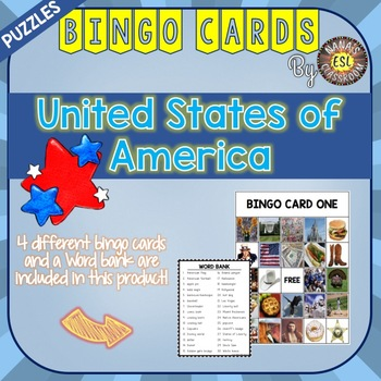 USA Bingo Cards Country Symbols Vocabulary Words for ESL a