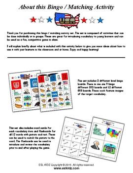 USA Bingo Matching Activities