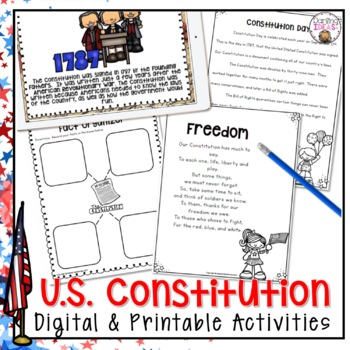 CONSTITUTION DAY ACTIVITIES WRITING AND READING COMPREHENSION