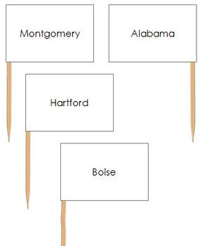 USA Capital Cities - Pin Map Flags