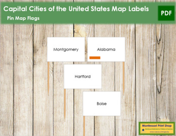 USA Capital Cities - Pin Map Flags (color-coded)