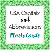 USA Capitals and Abbreviations Flash Cards, Test Prep, America, Geography