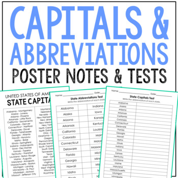 USA Capitals and Abbreviations Tests, Includes Study Guide