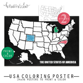USA Coloring Poster 24x36 inch
