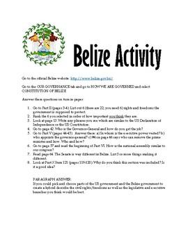 USA Constitution - Belize Constitution Activity