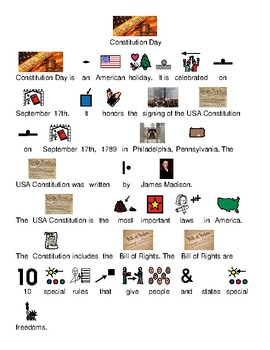 USA Constitution Day - September 17 picture supported text lesson review visuals