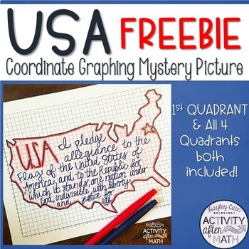 USA Coordinate Graphing Picture First Quadrant & ALL Four Quadrants