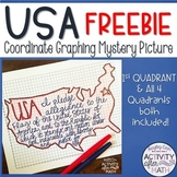 United States Coordinate Graphing Picture 1st Quadrant & ALL Four Quadrants FREE