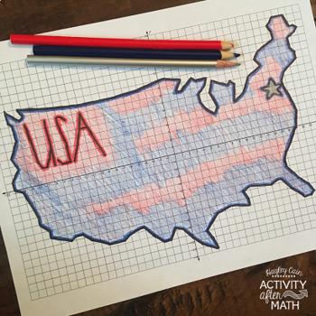 United States Coordinate Graphing Picture 1st Quadrant & ALL Four Quadrants FREE