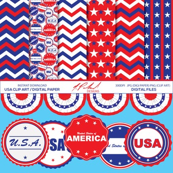 USA Digital Paper and Clip Art -  digital paper pack and clipart - America