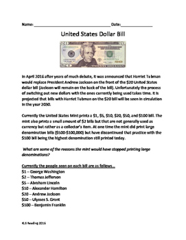 USA Dollar Bills - Who is on them? Who should be on them? lesson