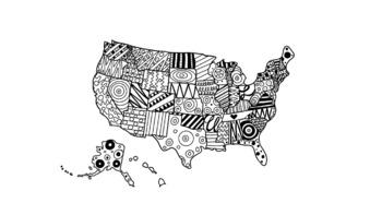 USA Doodle Map AMERICA