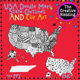 USA Doodle Map Clip Art and America Printable Handout
