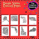 USA Doodle States Coloring Pages