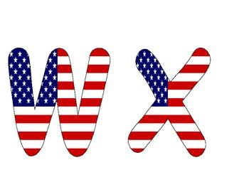 USA Flag Alphabet