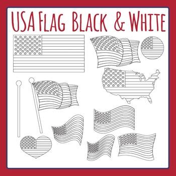 USA Flag - Black and White Line Art Clip Art Set for Comme