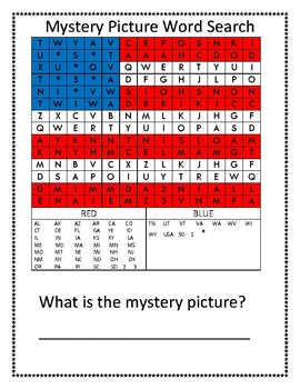 USA Flag Mystery Picture Word Search