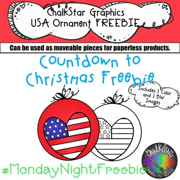 USA Flag Ornament Clip Art FREEBIE- Chalkstar Graphics