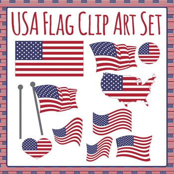 USA Flag - Stars and Stripes Clip Art Set for Commercial Use
