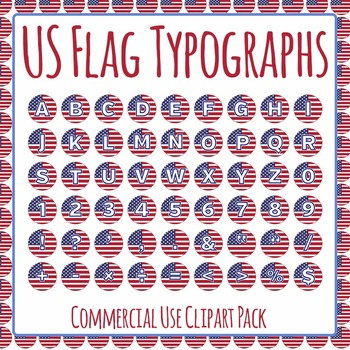 USA Flag Typographs - Letters / Tiles / Characters Clip Art Set Commercial Use