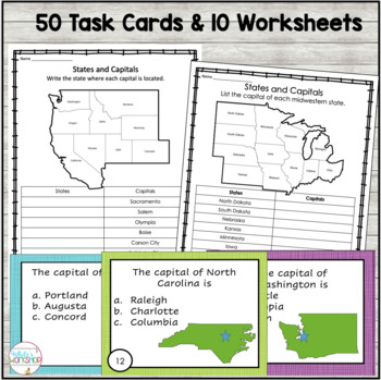 USA Geography Bundle: Task Cards and Map Activities