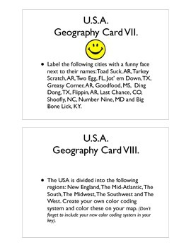 USA Geography Command Cards