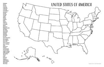 USA Geography - 50 State Research Project - United States Map Outline